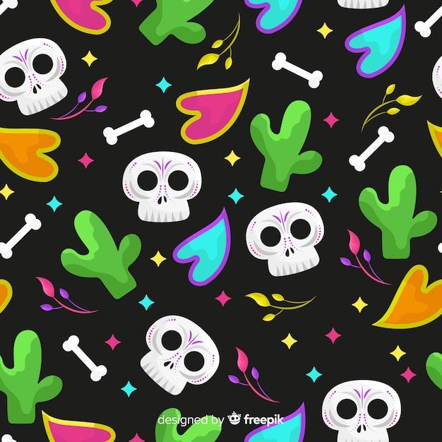 Flat design día de muertos pattern Free Vector