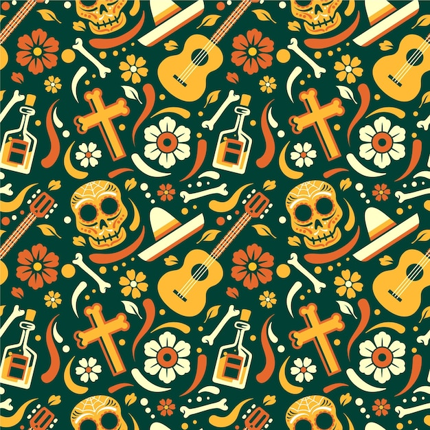 Flat design dia de muertos pattern Free Vector
