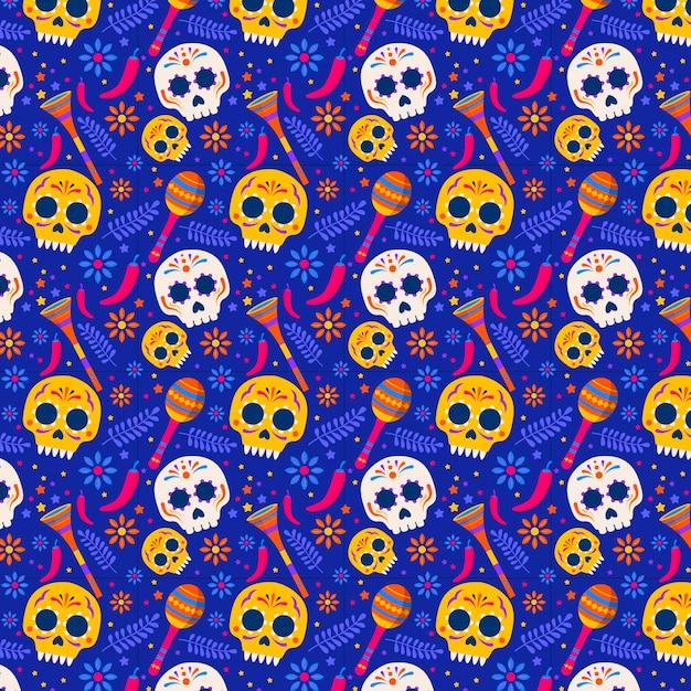 평면 디자인 dia de muertos 패턴 무료 벡터