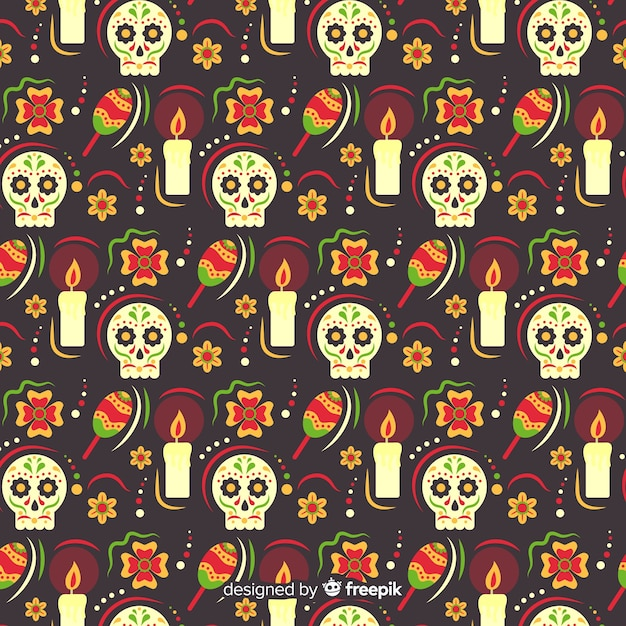 Flat design of dia de muertos pettern Free Vector