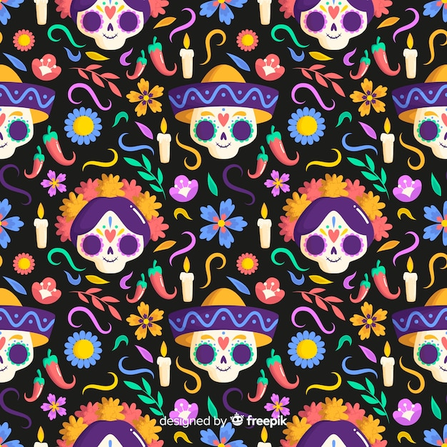 Flat design dia de muertos seamless pattern Free Vector