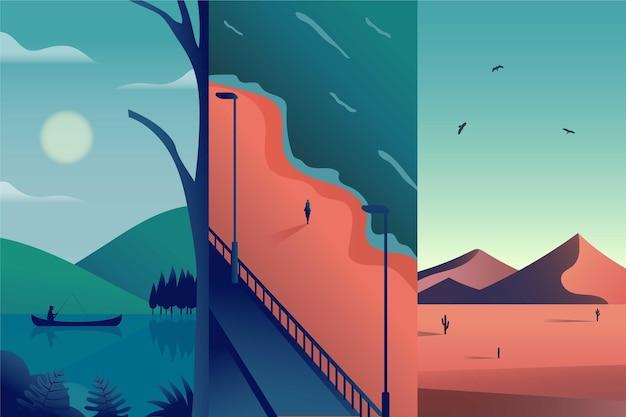 フラットなデザインの異なる風景コレクション 無料ベクター