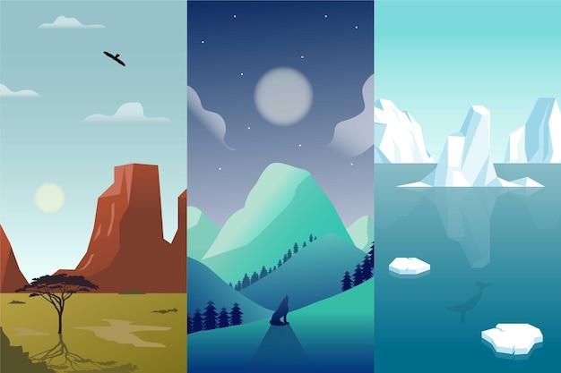 Set paesaggio diverso design piatto Vettore gratuito