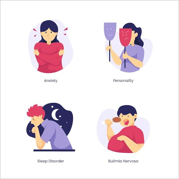 Set di diversi disturbi mentali design piatto Vettore gratuito