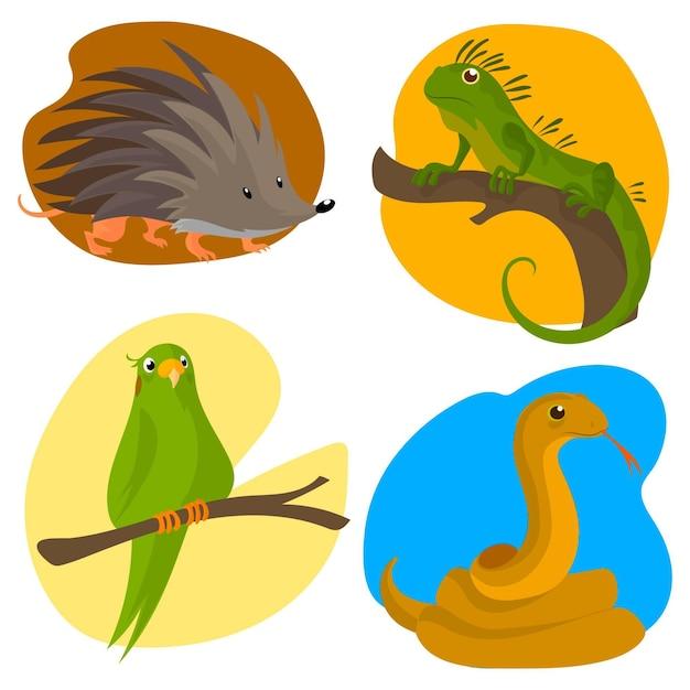 Insieme differente dell'illustrazione degli animali domestici di progettazione piana Vettore gratuito