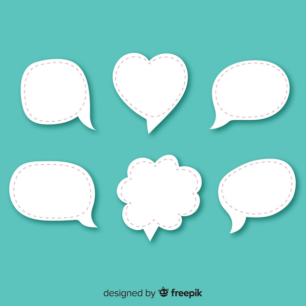 Flat design different speech bubbles in paper style Free Vector