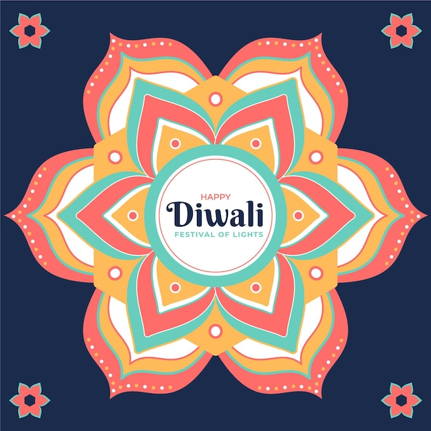 Flat design diwali background with mandala and flowers Free Vector