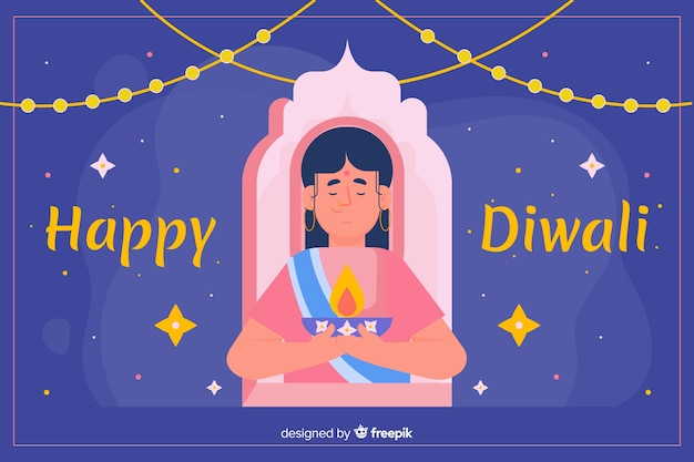 Flat design of diwali background with a woman Free Vector