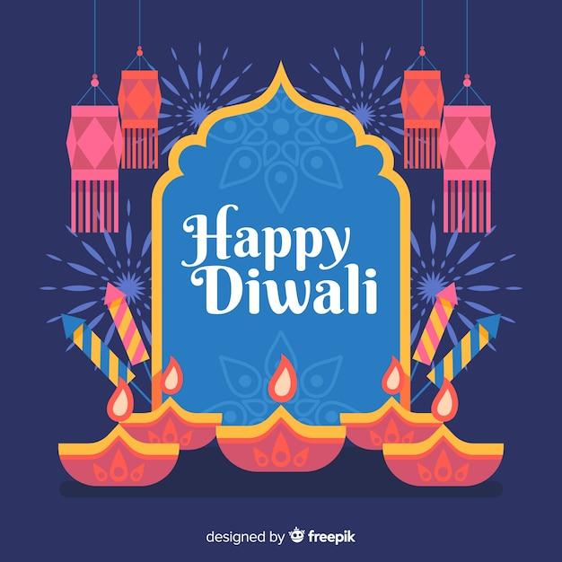 Flat design of diwali background Free Vector