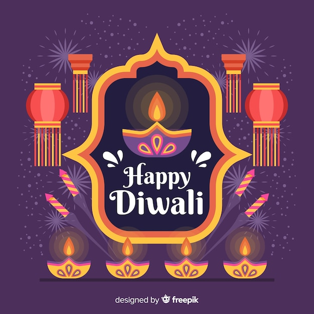 Flat design of diwali background Free Vector