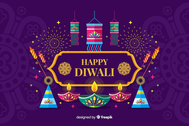 Flat design diwali festival background with candles Free Vector