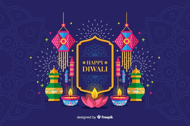 Flat design diwali holiday background with candles Free Vector