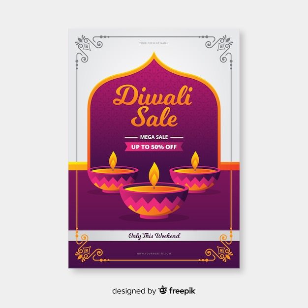 Flat design of diwali sale flyer template Free Vector