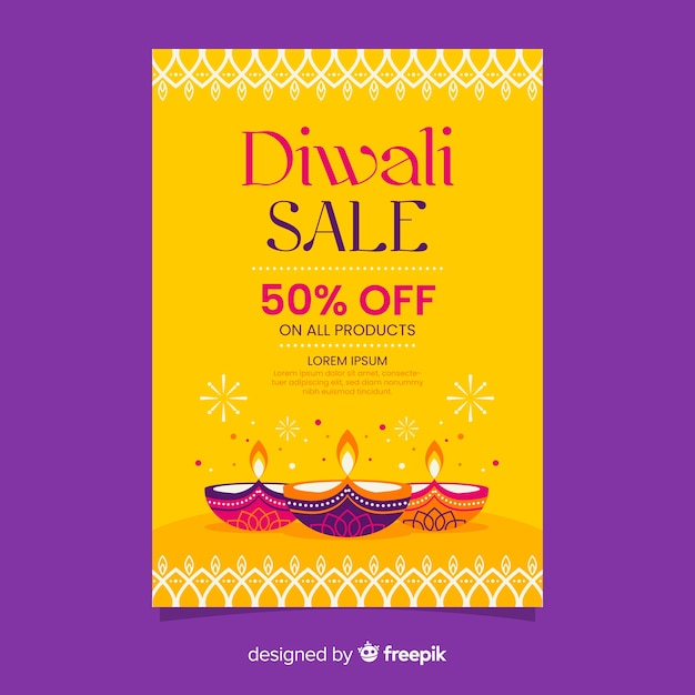 Flat design of diwali sale flyer template Free Vector
