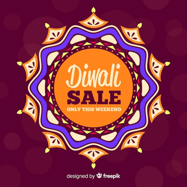 Flat design of diwali sale Free Vector