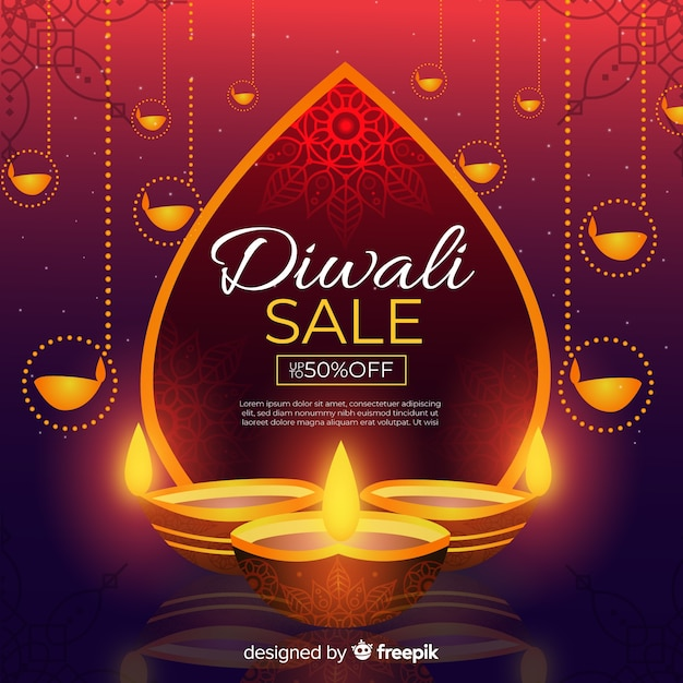 Flat design of diwali sale Free Vector