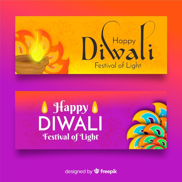 Flat design diwali web banners template Free Vector