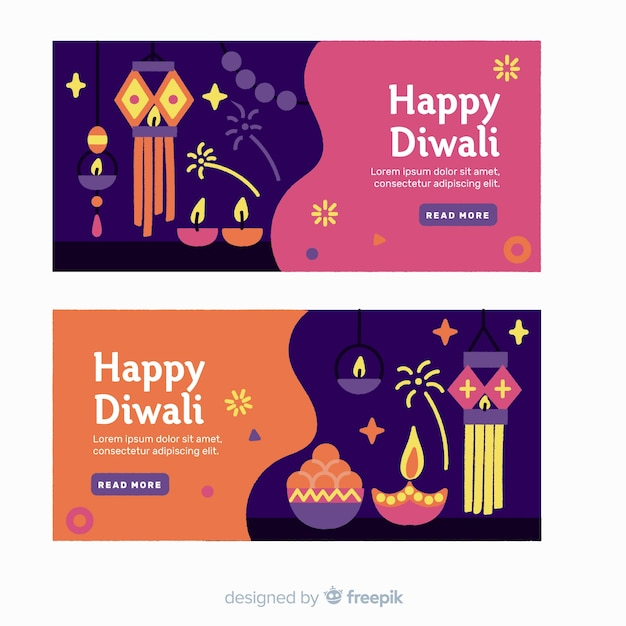 Flat design diwali web banners with candles Free Vector