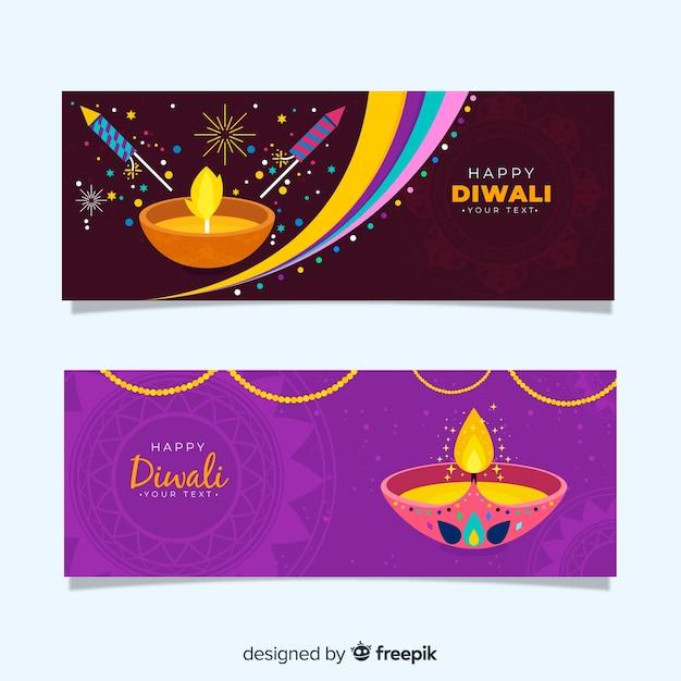 Flat design of diwali web banners Free Vector