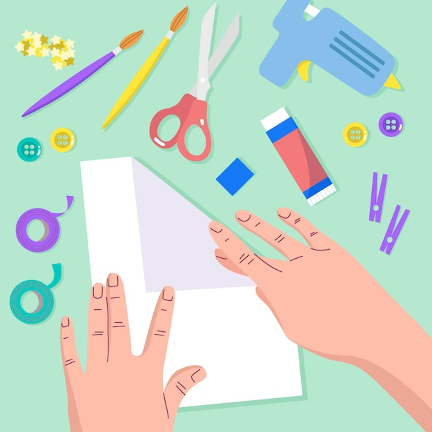 Flat design diy creative workshop illustration Free Vector