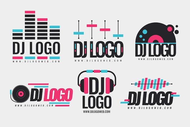 Flat design dj logo collection Free Vector