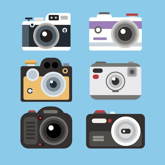 Flat design domestic camera collection