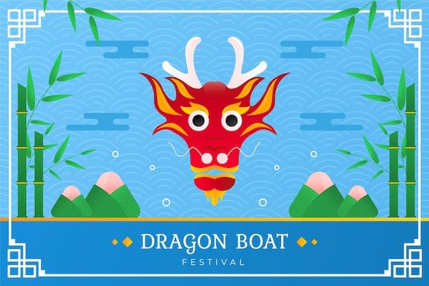 Flat design dragon boat background Free Vector