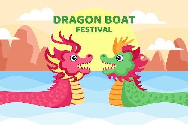 Design piatto drago barca sullo sfondo Vettore gratuito