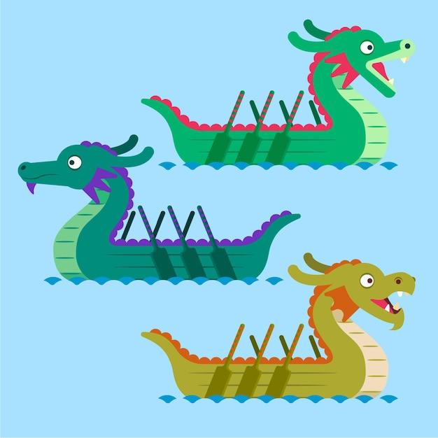 Плоская коллекция лодок-драконов Бесплатные векторы