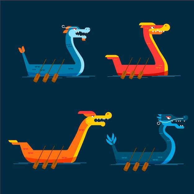 Collezione di barche drago design piatto Vettore gratuito