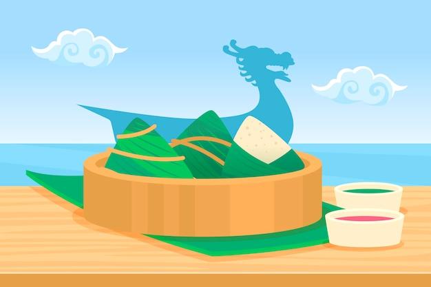 Фон zongzi лодка-дракон плоский дизайн Бесплатные векторы