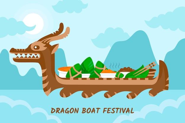 Design piatto drago barca zongzi sfondo Vettore gratuito