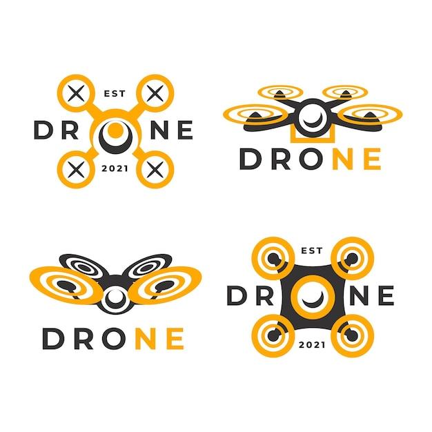 Flat design drone logo collection Free Vector