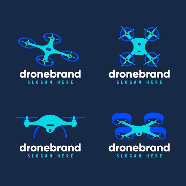 Flat design drone logo set Free Vector