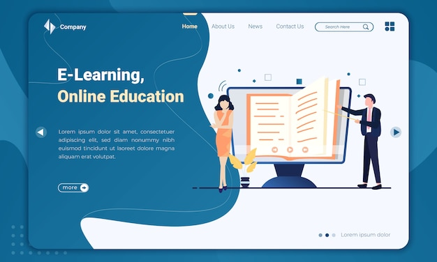Flat Design E Learning Or Online Education Landing Page Template Premium Vector