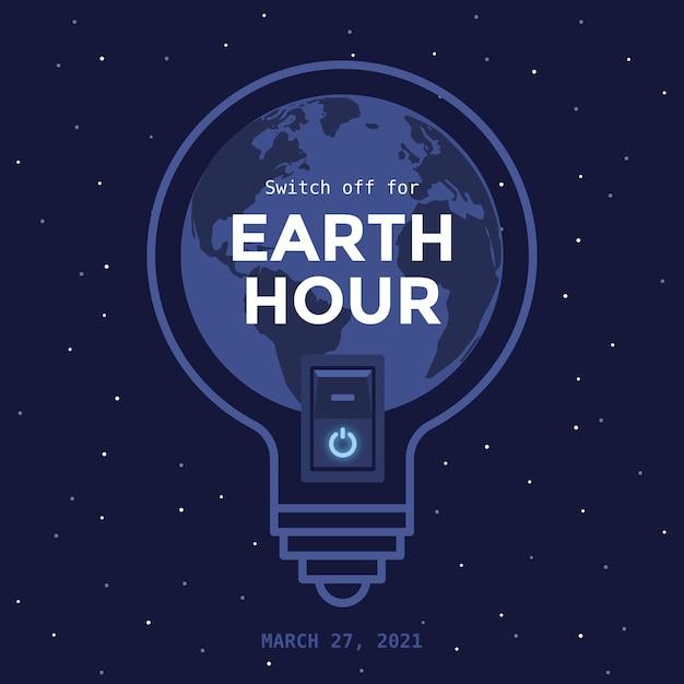 Плоский дизайн лампочки часа земли Бесплатные векторы