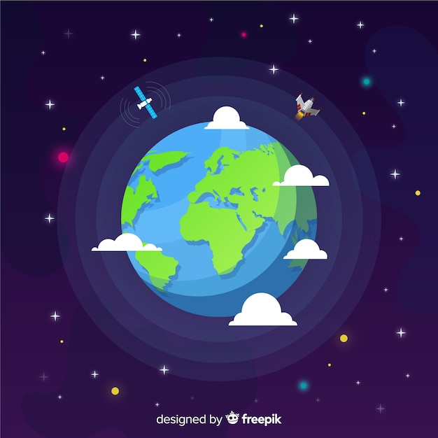 Flat design of earth in space Free Vector