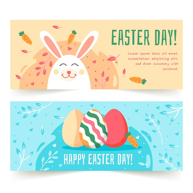 Flat design easter day banners set Free Vector