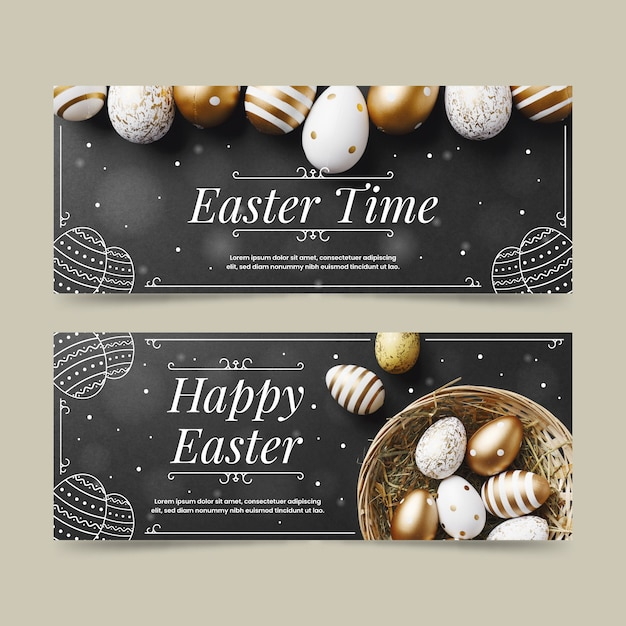 Flat design easter day banners template Free Vector
