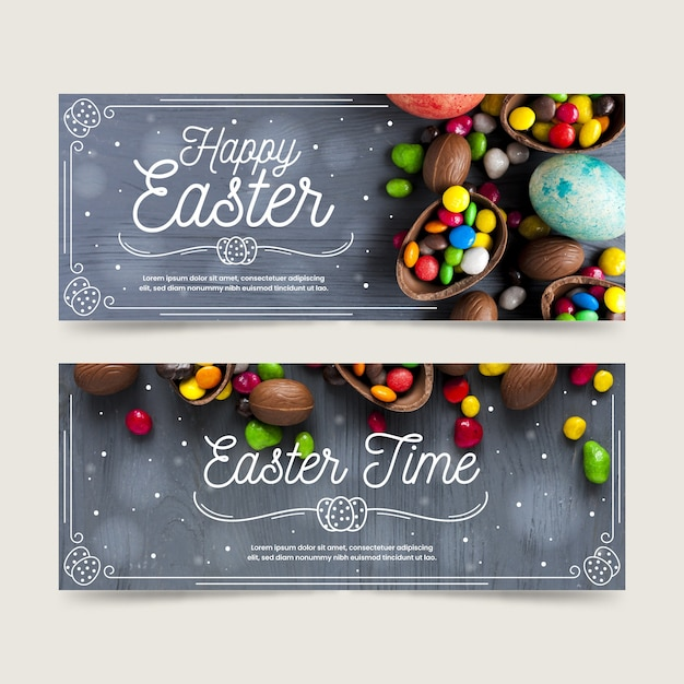 Flat design easter day banners Free Vector