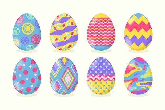 Плоский дизайн коллекции пасхальных яиц Бесплатные векторы