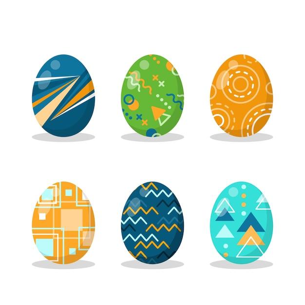 フラットなデザインのイースターの日卵コレクション 無料ベクター