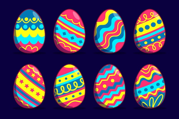Flat design easter day eggs with vivid-coloured lines Free Vector