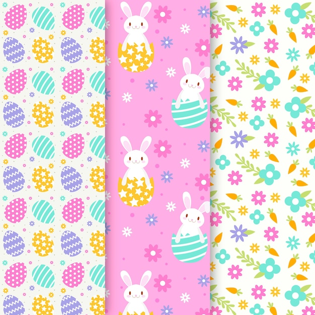 Flat design easter day pattern collection concept Free Vector