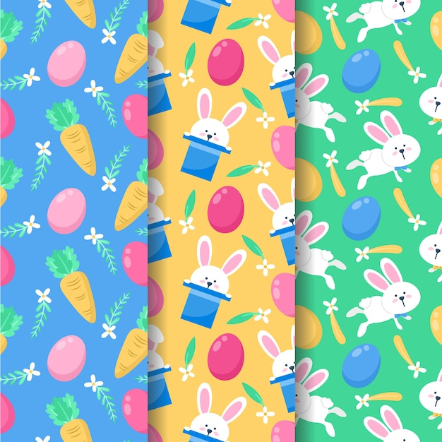 Flat design easter day pattern collection Free Vector