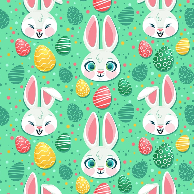 Flat design easter pattern concept Free Vector