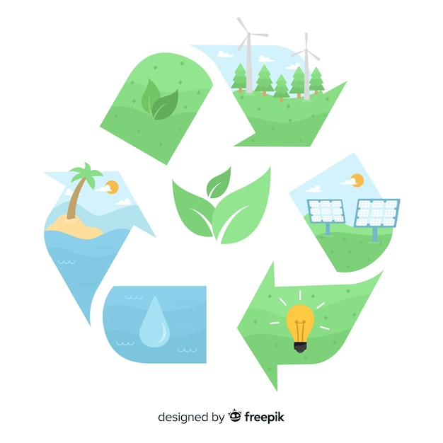 Flat design ecology concept with natural elements Free Vector