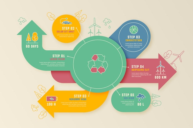 Flat design ecology infographic template with retro colors Free Vector