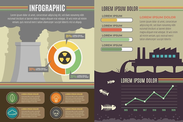 Flat design ecology infographic Free Vector