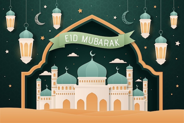 Flat design eid mubarak background with mosque Free Vector